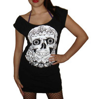 Ladies Custom DIY Day Of The Dead / Dia De Los Muertos Sexy Scoop Mini Dress Top