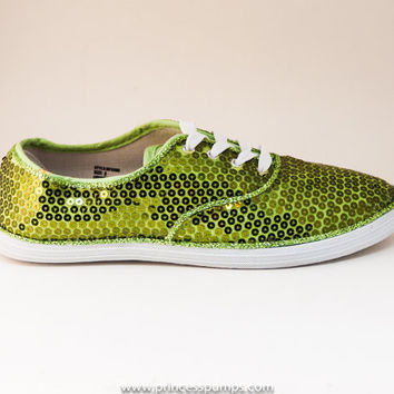 CVO Olive Green Sequin Canvas Sneaker Tennis Plimsoll Shoes