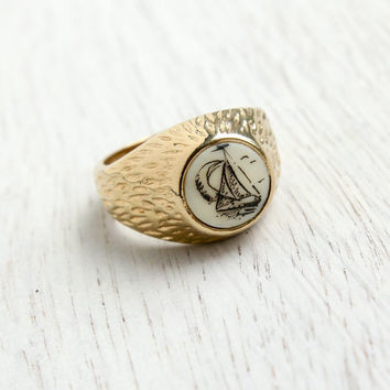 Vintage Sailboat Scrimshaw Ring - Retro Size 8 3/4 18K Yellow H.G.E Nautical Costume Jewelry / Sail Away