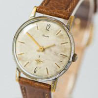 Retro men's wristwatch minimalist beige shabby watch gent's accessory premium leather strap new