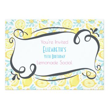 Lemons & Flowers Birthday Lemonade Social Invite