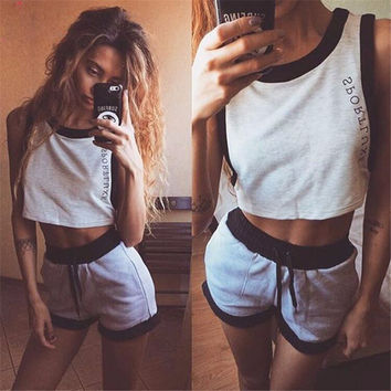 Fashion  Casual Multicolor Letter Print Sleeveless Crop Tops Shorts Set Two-Piece Sportswear