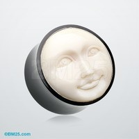 Mystic Moon Face Organic Ear Gauge Plug