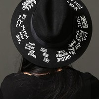 Mens Doodle Printed Ribbon Wool Fedora at Fabrixquare