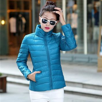2016 Down Female Short Paragraph Korean Fashion Autumn And Winter Jacket Collar Slim Coat Thin Feather Padded Body Decoration