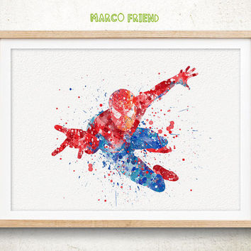 Spider-man, Avengers - Watercolor, Art Print, Home Wall decor, Watercolor Print, Superhero Poster