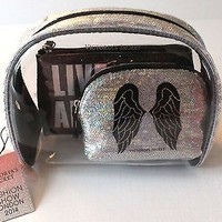 Victoria's Secret NWT Fashion Show Makeup Cosmetic Bag Set Trio Silver Glitter