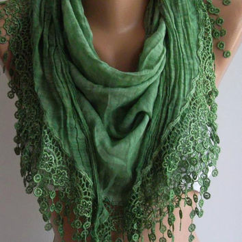 Green  / Elegance  Shawl / Scarf with Lacy Edge / soft and light--