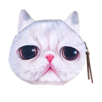 White Cat Face Coin Purse