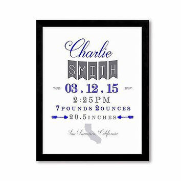 Custom Personalized Baby Boy Announcement Blue and Gray, Nursery Decor Art Print