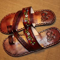 Flowers Brown Leather Mexican Shoes-Flip Flops-Sandals-Hippie-BOHO- Tribal- Shoes- Summer