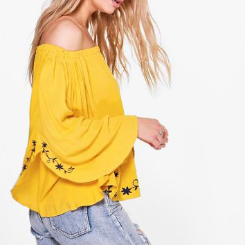 Emily Embroidered Bardot Top | Boohoo