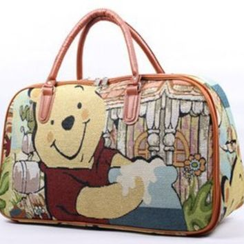 Cool bags green canvas bag girl Winnie the Pooh bag Travel Bags Shopping Bag