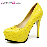 ANNYMOLI Extreme High Heels Platform Shoes Women Pumps Sexy Stiletto Party High Heels Fashion Evening Shoes Yellow Black 34-39
