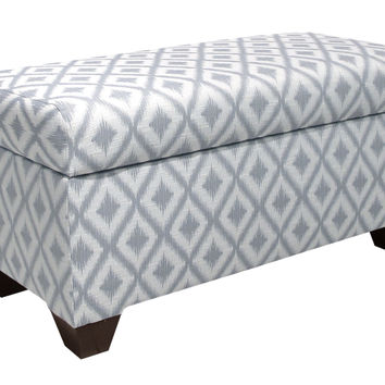 "Hayworth 38"" Ikat Storage Bench, Pewter, Bedroom Bench"