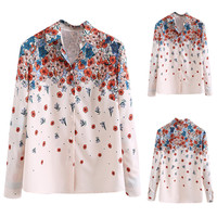 Floral Print Long Sleeve Button Down Loose Shirt