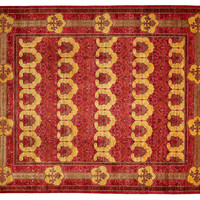"8'1""x10'6"" Art & Craft Knotted Rug, Red, Area Rugs"