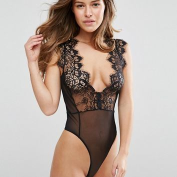 ASOS PETITE Sidney Eyelash Lace Plunge Body at asos.com