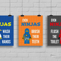 "Lego Ninjago Bathroom Prints - ""Even Ninjas Washes their Hands"" Lego Prints, Ninjago Prints, Bathroom Rules, Ninjago, Set of 3"