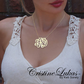 14K Gold Filled - Monogram Necklace - Personalize It With Your Initials - Small To Large Initials