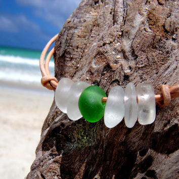 Hawaiian Emerald Green and Clear Beach Glass Tinies on India Leather Cord Completely Adjustable & Stackable Bracelet
