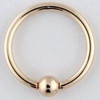 "One 14K Gold Captive Bead Ring: 18g 1/4"", 14K Gold Bead: 3mm (SOLD INDIVIDUALLY. ORDER TWO FOR A PAIR.)"