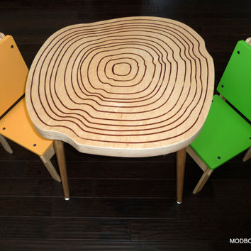 Kids Table and Chairs, Modern Furniture for Kids Room, Table for Kids 2Modern Style Chairs, Wood Tree Stump Design