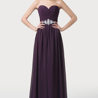 Purple Off Shoulder Beaded Empire Waist Flounce Maxi Dress