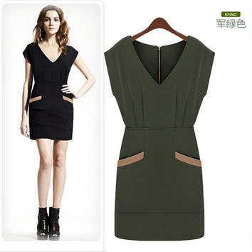 V-Neck Zip-Back Dress with Pocket