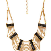 FOREVER 21 Chained Deco Necklace Black/Gold One