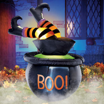 Inflatable Witch In Cauldron Halloween Yard Decor