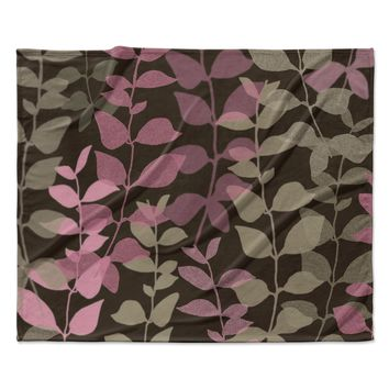 "Carolyn Greifeld ""Leaves of Fantasy 2"" Pink Brown Fleece Throw Blanket"