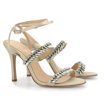 Champagne Jeweled Strappy Heels With Ankle Strap - Crystal embellished Sandals Bella Belle Belinda