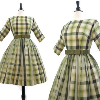 50s 60s Dress Vintage Plaid Chiffon Full Skirt Cocktail New Look S XS