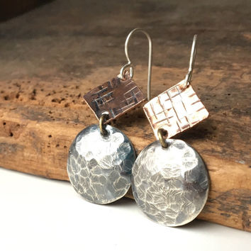 Hammered Dangle Earrings, Hand Hammered, Silver Filled and Copper Earrings, Geometric Earrings, Metalwork Earrings, Handmade Earrings, Etsy