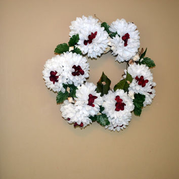 Grapevine Wreath Seashells With White and Red Flowers 14inches, Home Decor