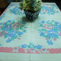 Vintage White with Pink and Blue flowers Kitchen Dining Luncheon Table Cloth for housewares, home decor, linens by MarlenesAttic