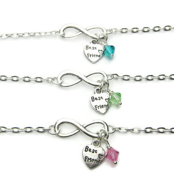 3 Infinity Swarovski Birthstone Heart Best Friend Bracelets,3 Best Friends Bracelets, Sisters Bracelets, Friends Bracelets, Best Friends