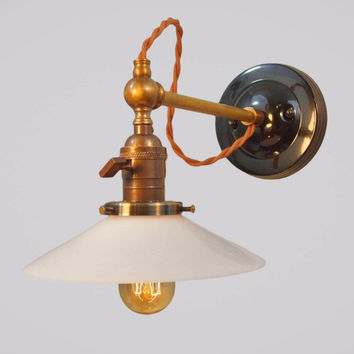 Vintage Industrial Wall Sconce with Exposed Cloth Wiring