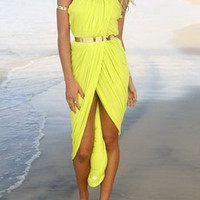 Yellow Sleeveless High-Low Hem Maxi Dress