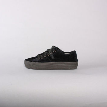 90s DKNY Black VELVET SNEAKERS / 1990s Chunky Rubber Sole Platforms Creepers 9