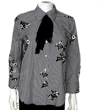 Marc Jacobs New Floral Gingham Button Down Shirt US 4 Cotton Black White Yellow