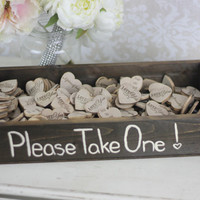 Rustic Wedding Favors Wood Heart Magnets Inside Rustic Box SET of 200 (item S10445)
