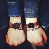 Retro Simple Waterproof Watch Lover Leather Watches Gift - 494