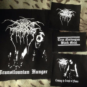 Darkthrone True Norwegian Black Metal Transilvanian Hunger Crossing The Triangle Of Flames Black Canvas Patch Set