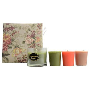 CANDLE GIFT BOX SARAH by Candle Gift Box Sarah FLORAL PRINT WITH TERRA COTTA, OLIVE GREEN AND BROWN BOX SET CONTAINS ONE ANJOU PEAR SMALL GLASS VASE & THREE VOTIVES FEATURING FUJI APPLE, ANJOU PEAR AND VANILLA OUD