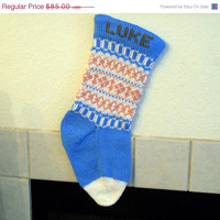 Baby's First Hand Knit Christmas Stocking, fair isle in blue, pink and white