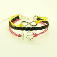 Yellow Pink Rope and Black Braided Leather Steampunk Adjustable Vintage Silver Karma Bracelet, infinity Wish Anchor Bracelet 1144r: Jewelry: Amazon.com