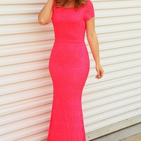 PREORDER: Flirt With Me Maxi Dress: Neon Pink - Dresses - Hope's Boutique