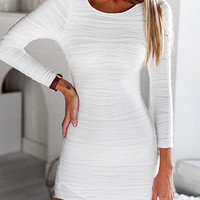 White Long Sleeve Textured Bodycon Dress